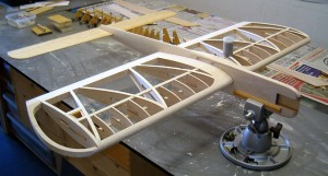 Example of a control line airplane, mid-build.