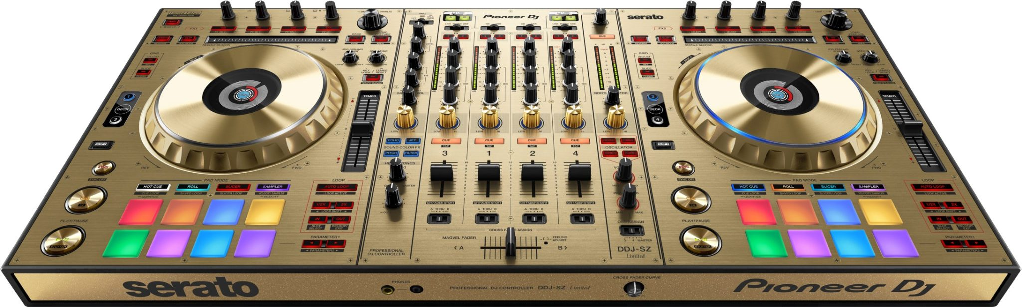 Pioneer's DDJ-SZ, also available in blingy gold finish.